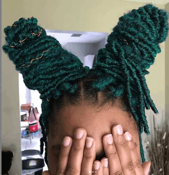 green faux locs